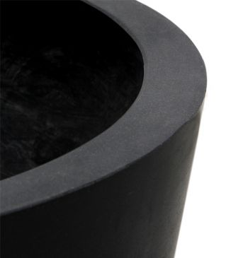 Black Polystone Round Planter – Set of 2 - H35cm x D40cm