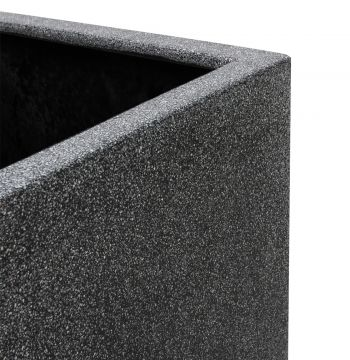 80cm Poly-Terrazzo Black Trough Planter – Set of 2