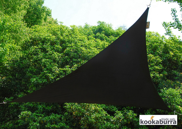 Kookaburra® 5m Triangle Black Waterproof Woven Shade Sail