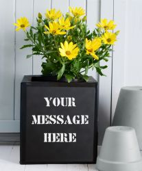 20cm Personalised Message Black Zinc Planter