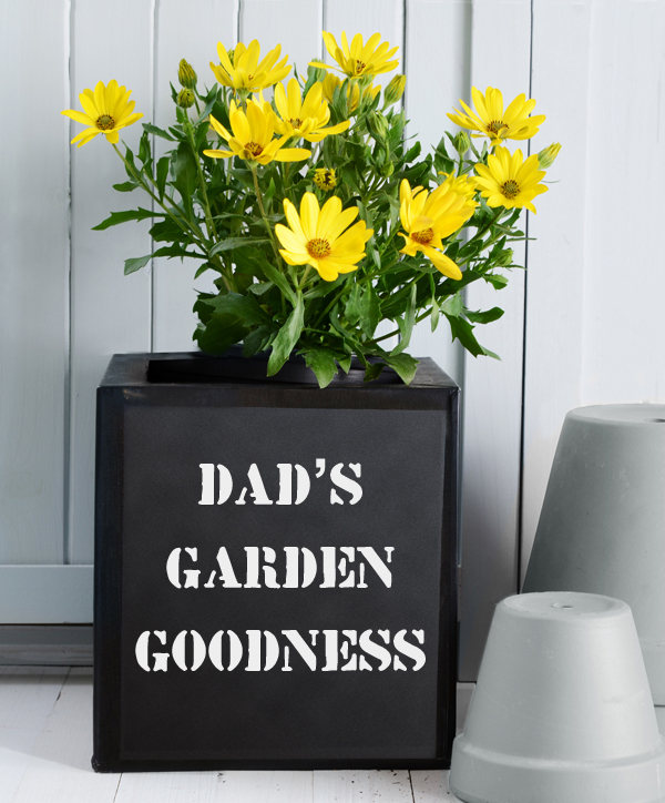 20cm Black Zinc Planter with Message