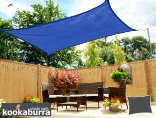 Kookaburra® 6mx5m Rectangle Blue Breathable Party Shade Sail (Knitted 185gsm)