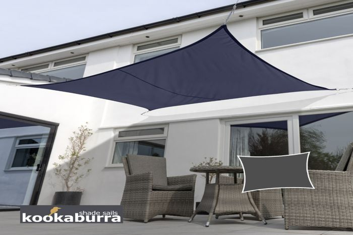 Kookaburra® 5mx4m Rectangle Blue Breathable Party Shade Sail (Knitted 185gsm)