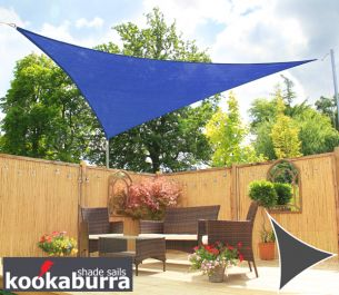 Kookaburra® 3m Triangle Blue Breathable Party Shade Sail (Knitted 185gsm)