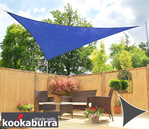 Kookaburra® 2m Triangle Blue Breathable Party Shade Sail (Knitted 185gsm)