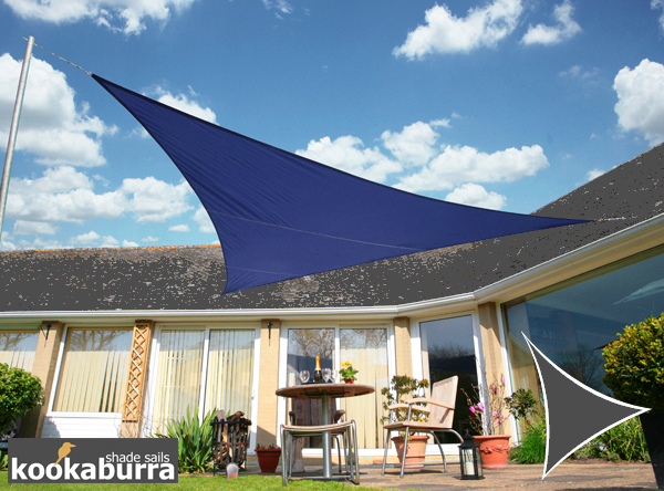 Kookaburra® 2m Triangle Blue Party Sail Shade (Woven - Water Resistant)