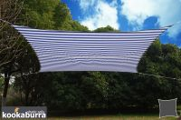 Kookaburra® 5.4m Square Blue and White Stripe Waterproof Woven Shade Sail