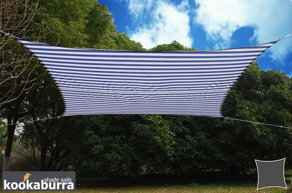 Kookaburra® 5mx4m Rectangle Blue and White Stripe Waterproof Woven Shade Sail