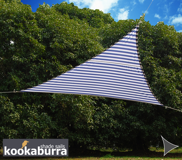 Kookaburra® 3.6m Triangle Blue and White Stripe Waterproof Woven Shade Sail