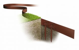 2m Borderline® Thick Lawn Edging in Brown With 3 Stakes