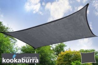 Kookaburra® 3mx2m Rectangle Charcoal Breathable Shade Sail (Knitted)