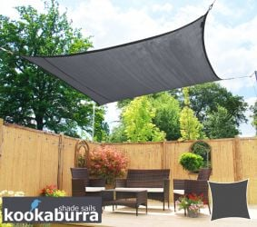 Kookaburra® 3m Square Charcoal Breathable Shade Sail (Knitted)