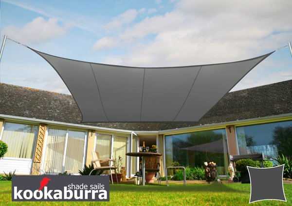 Kookaburra® 2m Square Charcoal Party Sail Shade (Woven - Water Resistant)
