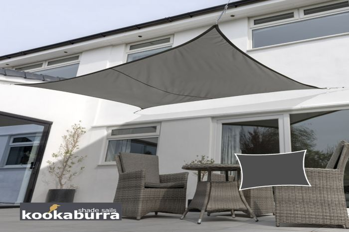 Kookaburra® 6mx5m Rectangle Charcoal Waterproof Woven Shade Sail