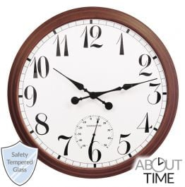 Big Time Outdoor Garden Clock with Thermometer - Brown - 90cm (35.4