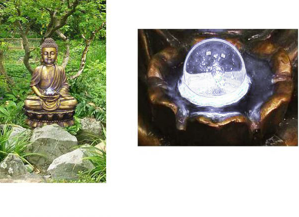 Golden Buddha Water Feature with Lights and Spinning Ball by Ambienté - H93cm
