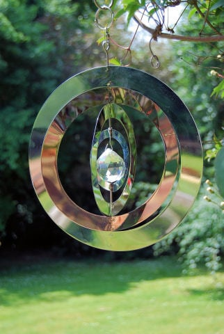 Stainless Steel Crystal Saturn Hanging Wind Spinners