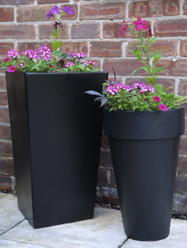 35cm Polystone Black Montroe Planter - Set of 2
