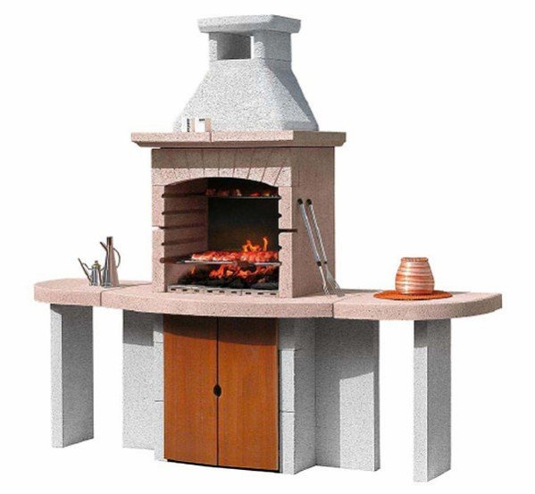 Dakota Stone Bbq Grill With Two Side Tables And Storage