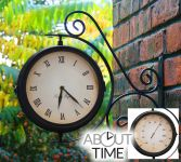 Bracket Mounted Outdoor Swivel Clock with Thermometer (31.5cm) - by About Time�