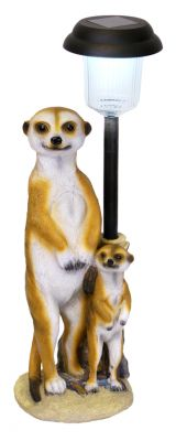 Fredrick and Child Meerkat Ornament With Solar LED Light