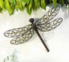 Outdoor Metal Dragonfly Garden Wall Art (H42cm)