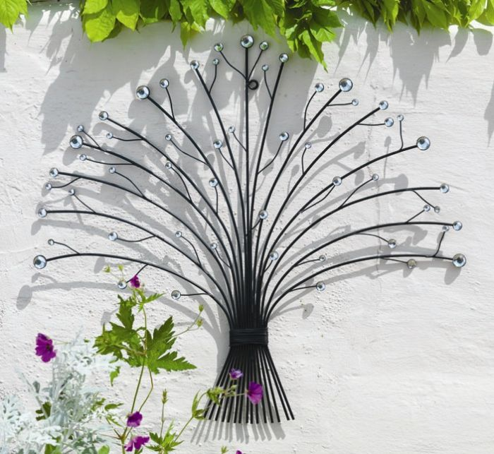 Outdoor Metal Glass Bead Bouquet Garden Wall Art H55cm 14 99