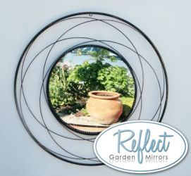 2ft 3in Round Orbital Metal Garden Mirror - by Reflect™
