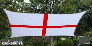 Kookaburra® 3mx2m Rectangle England Flag Waterproof Woven Shade Sail