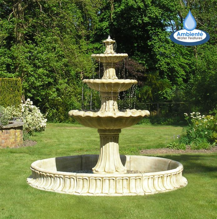 H205cm 3-Tier Classical Stone Fountain - by Ambienté