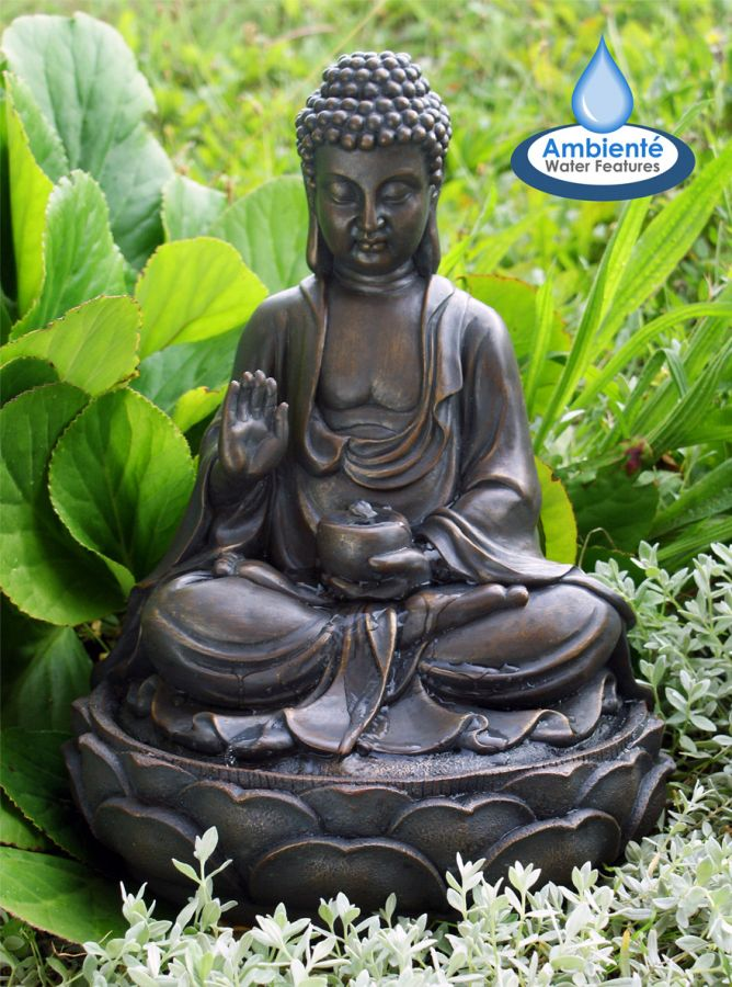 Brown Buddha Water Feature by Ambienté™ - H39cm