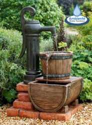 H82cm Pump and Barrel Water Feature with Lights by Ambienté