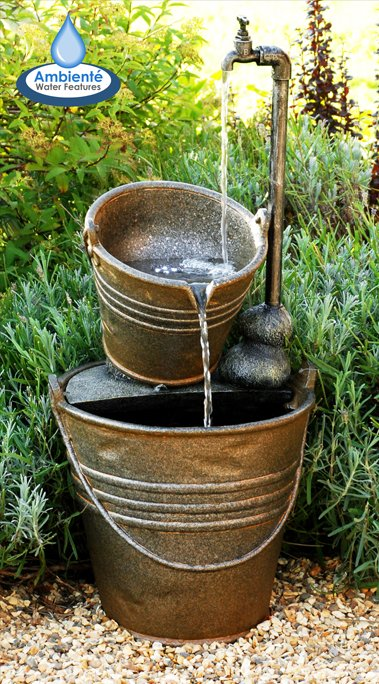 H76cm Tap and Bucket Water Feature with Lights | Indoor/Outdoor Use by Ambienté