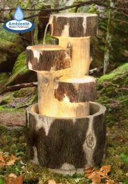 3 Tier Log Cascade Water Feature with Lights by Ambienté™
