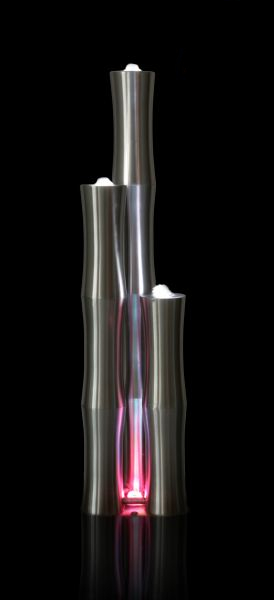 4ft/120cm Medium 3 Brushed Stainless Steel Bamboo Tubes Water Feature With LED Lights On Tubes & Base by Ambienté™