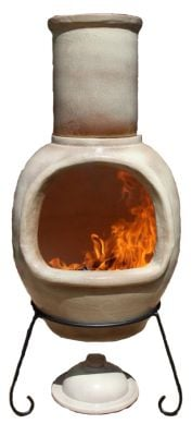 Asteria Fireproof Clay Chiminea - Glazed Mottled Light Brown - H129cm by Gardeco™