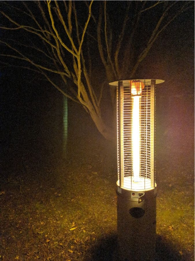 12kW Flame Column Gas Patio Heater in Black Firefly™