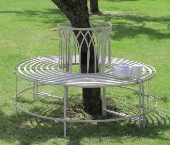 Alium™ Trentino Steel Circular Garden Tree Seat in Cream - Full Circle