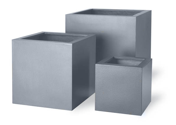 H54cm Medium Cube Fibreglass/Resin Planters - Aluminium