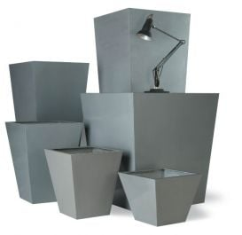 Tapered square fibreglass/resin planters - Aluminium
