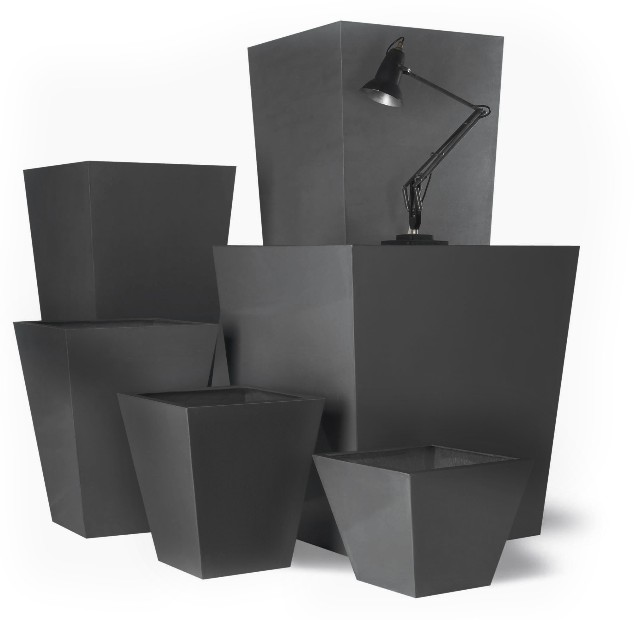 Tapered square fibreglass/resin planters - Faux Lead