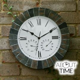 Slate Effect Outdoor Garden Clock with Thermometer - 35.5cm (14