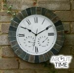 "Slate Effect Outdoor Garden Clock with Thermometer - 35.5cm (14"") - by About Time™"