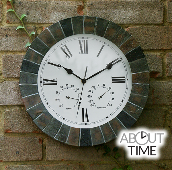 Slate Effect Outdoor Garden Clock With Thermometer 35
