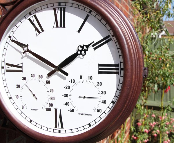 "Double Sided Station Garden Clock with Thermometer - 38cm (15"") - by About Time™"