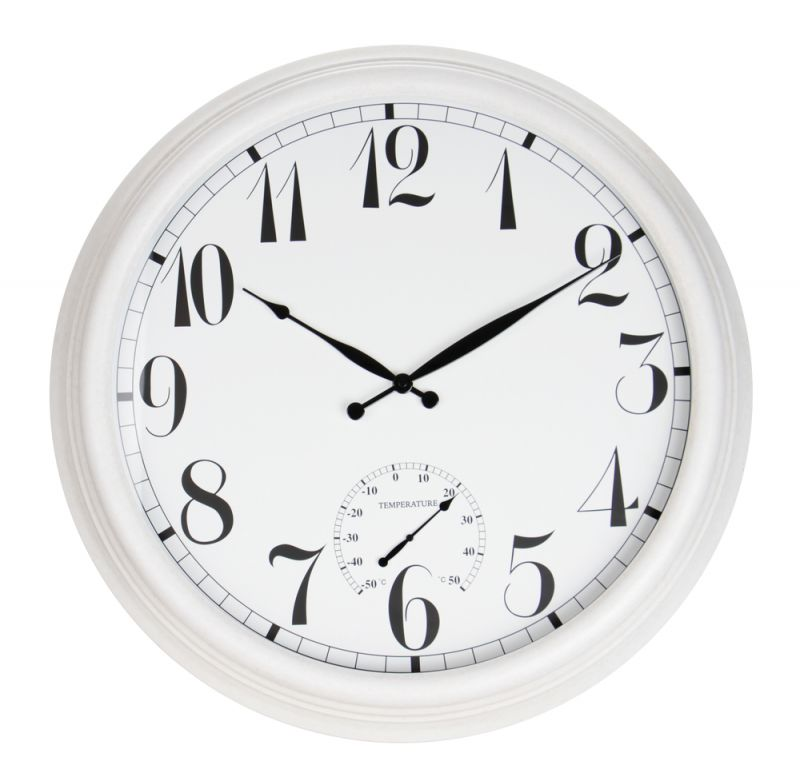 "The Giant White Outdoor Garden Clock with Thermometer - 59cm (23.2"") - by About Time™"
