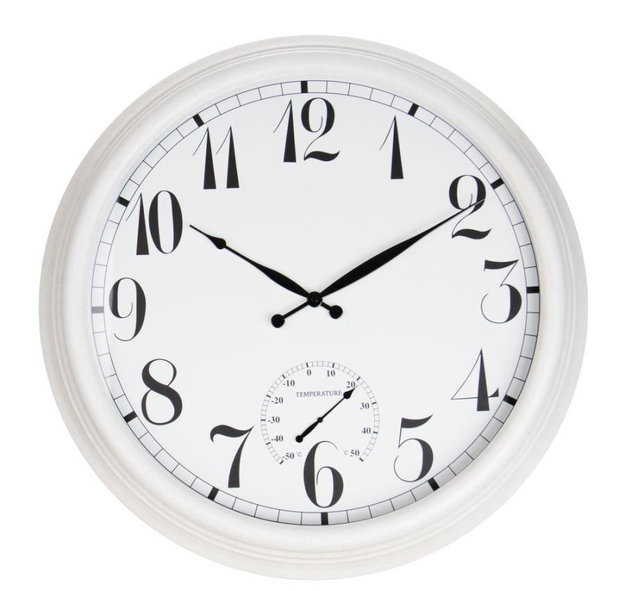 The Giant White Outdoor Garden Clock With Thermometer