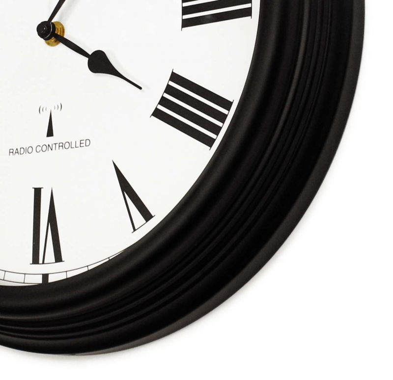 "Perfect Time Radio Controlled - 38cm (15"") Outdoor Garden Clock - Black - by About Time�"