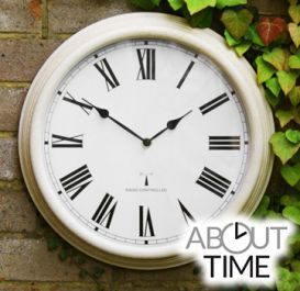 Perfect Time Radio Controlled Outdoor Garden Clock - Antique White - 38cm (15