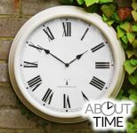 "Perfect Time Radio Controlled Outdoor Garden Clock - Antique White - 38cm (15"") - by About Time�"